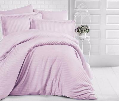 Двуспальное постельное белье из страйп-сатин-жаккарда «Пыльная сирень»