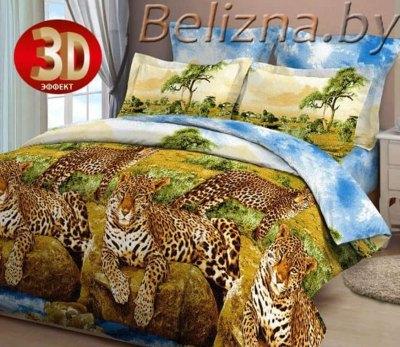 Двуспальное постельное белье 3D «Леопарды у воды»