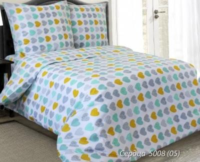 Полуторное постельное белье из бязи «Сердца 5008»