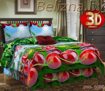 Полуторное постельное белье 3D из бязи «4435»