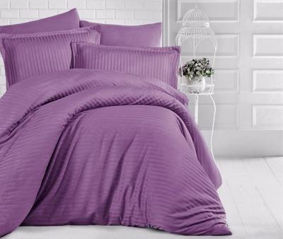 Полуторное постельное белье из страйп-сатин-жаккарда «Черника со сливками»