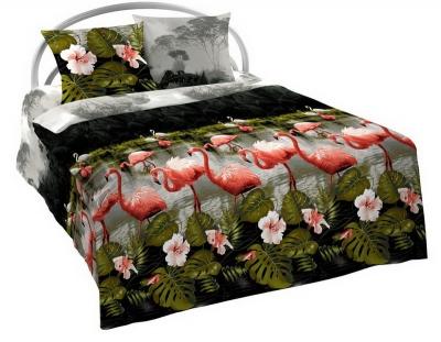 Полуторное постельное белье из бязи «Розовый фламинго»