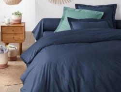 Двуспальное постельное белье из сатина «5320 темно-синий»