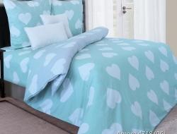 Семейное постельное белье ДУЭТ из бязи «Amore мятный с серым»