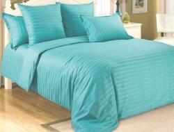 Двуспальное постельное белье из страйп-сатин-жаккарда «Бирюза»