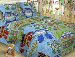 Детское постельное белье из поплина «Робокар Поли»