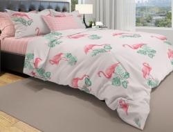 Постельное белье ЕВРО из бязи «Фламинго на розовом»