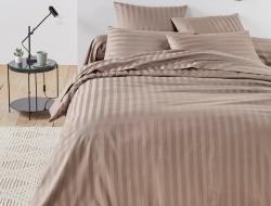 Двуспальное постельное белье из страйп-сатин-жаккарда «Латте»