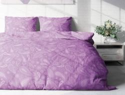 Полуторное постельное белье из поплина «Пейсли сиреневый»