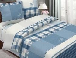 Двуспальное постельное белье «Поло синий»