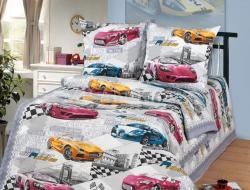 Полуторное постельное белье «Форсаж» с простыней на резинке 90x200