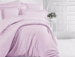 Полуторное постельное белье из страйп-сатин-жаккарда «Пыльная сирень»