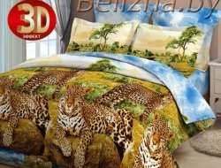 Постельное белье ЕВРО «Леопарды у воды»