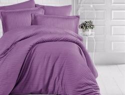 Семейное постельное белье ДУЭТ из страйп-сатин-жаккарда «Черника со сливками»