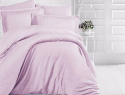 Семейное постельное белье ДУЭТ из страйп-сатин-жаккарда «Пыльная сирень»
