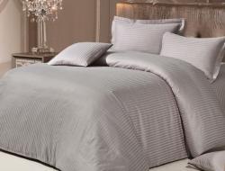 Двуспальное постельное белье из страйп-сатин-жаккарда «Серо-бежевый»