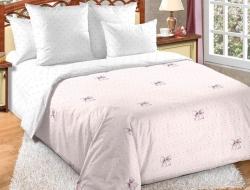 Полуторное постельное белье из поплина «Сладкий поцелуй» с простыней на резинке 90*200
