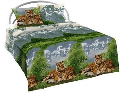 Полуторное постельное белье из бязи «Тигры»