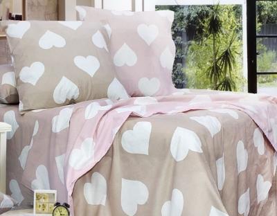 Полуторное постельное белье из бязи «Amore бежево-розовый»