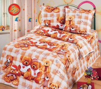 Детское постельное белье мишутки 3d