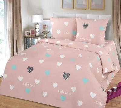 Полуторное постельное белье из бязи «Сердца»