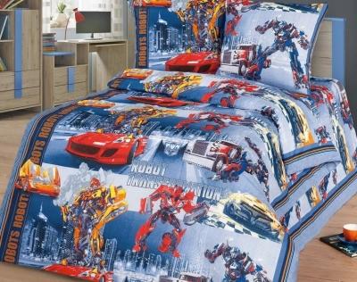 Полуторное постельное белье из бязи «Роботы»