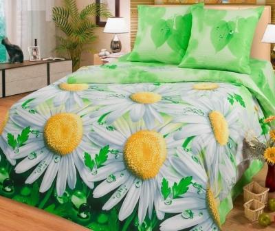 Двуспальное постельное белье из поплина «Ромашки»