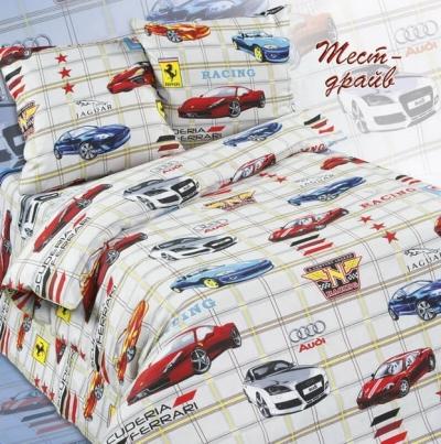Полуторное постельное белье из бязи «Тест-драйв»