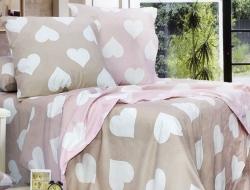 Постельное белье ЕВРО из бязи «Amore бежево-розовый»