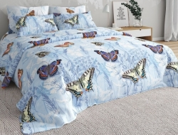 Полуторное постельное белье из бязи «Бабочки 02»