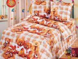 Полуторное постельное белье из бязи «Мишутки»