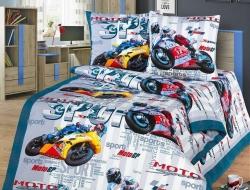 Полуторное постельное белье из бязи «Гонки»