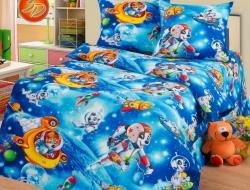 Полуторное постельное белье из бязи «Космики»