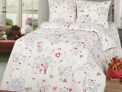 Полуторное постельное белье из бязи «Love Story»
