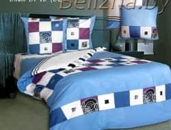 Полуторное постельное белье из бязи «Элит синий»