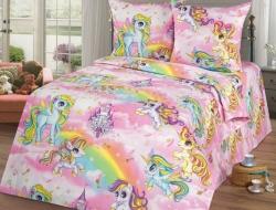 Полуторное постельное белье из бязи «Пони»