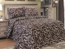 Полуторное постельное белье из бязи «Завитки темные» с простыней на резинке 90*200